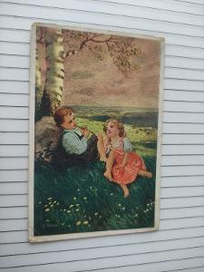 Pohlednice umělecká - Honza - děti, chlapec, dívka, krajina, láska