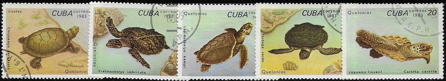 Kuba CTO 1983 Želvy, krátká série