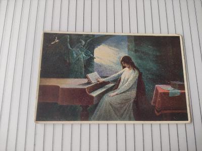 Pohlednice - Mathauser - Poslední Akordy. anděl, klavír, smrt - známka