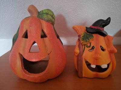 Halloween dýně - keramická dekorace, svícen 2ks