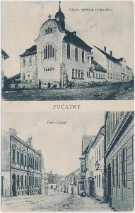 45 - Pelhřimovsko, Počátky, 2 - záběr, nemocnice, Horní ulice, ca 1918
