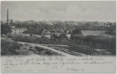 38 - Náchodsko, Česká Skalice, pohled na město, nákl. J. Hofmann, 1904