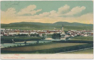 46 - Písek, celkový pohled na město, nákl. J. Thorovský, cca 1905