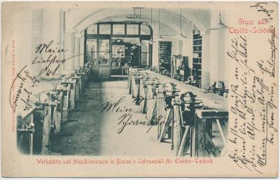 65 - Teplice, interiér dílny a strojovny na Vysoké škole, cca 1906