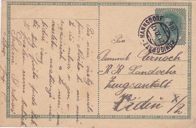 Rakousko, vlaková pošta 166, Hradec Králové-Hanušovice 1917- Vídeň.