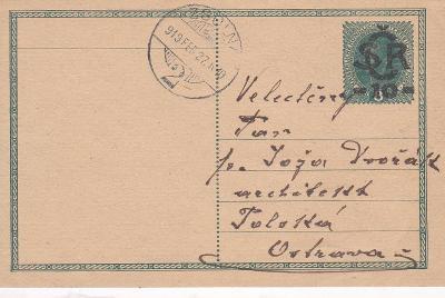 CDV 1, Slovensko, Žilina, uherské 27.2.1919 - Polská Ostrava.