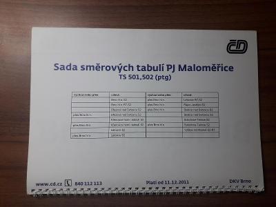 Sada směrových tabulí PJ Maloměřice GVD 2011/2012