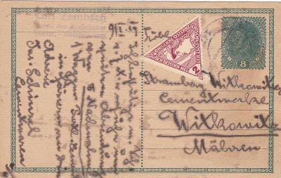Souběžná, dofr. Šumperk asi 10.1.1919, firma - Vítkovice.