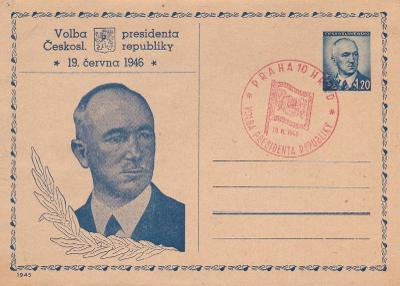 CDV 83, přítisk a příl. razítko Dr. E. Beneš, volba prezidenta,