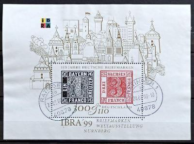 DEUTSCHLAND: MiNr.B46 Bavaria Nr.1+Saxony Nr.1 300pf+110pf, Sheet 1999