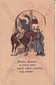 Boleslav (Praha - východ) barevná kresba, báseň