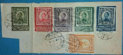 Jugoslávie -1921 - ústřižek 6 známek