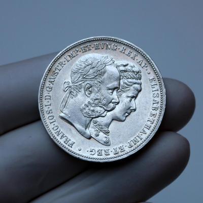 2 zlatník 1879 - stříbrná svatba / svatební dvouzlatník