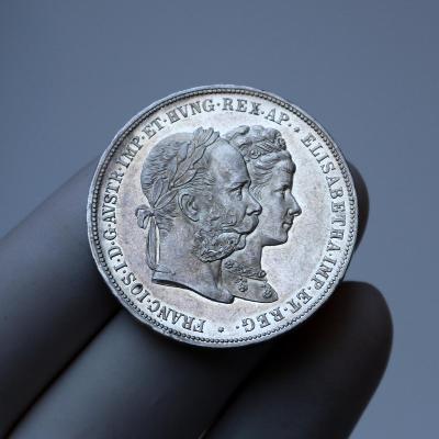 2 zlatník 1879 - stříbrná svatba / svatební dvouzlatník  - 2 - TOP