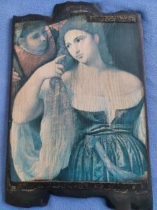 Starožitý obraz na dřevě