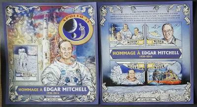 Niger 2016 Mi.4087-0+Bl.522 28€ Smrt kosmonauta Mitchella, vesmír