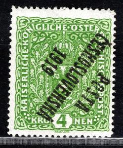 Pč 1919/50 I PP, typ I,  znak, ohyb,  zelená 4 K, zk. Kovar/19.51234