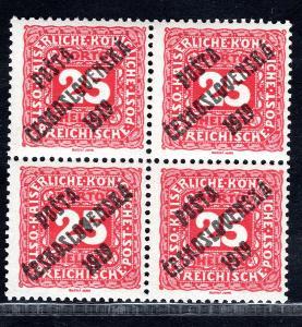 Pč 1919/76, doplatní malá čísla, 4 blok, spojené typy přetisk/19.67333