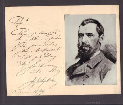 Myslbek Václav (1848-1922), český sochař, sběratelský list s dopisem