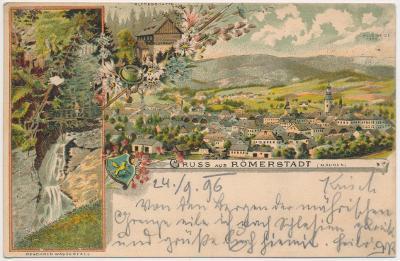 06 - Bruntálsko, Rýmařov (Römerstadt), 3 - záběrová litografie,  1896