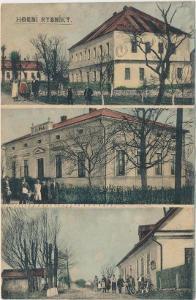 30 - Náchodsko, Horní Rybníky, 3 - záběr obce s obyvateli, cca1908