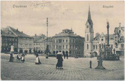 66 - Trutnov, oživené náměstí, nákl. J. Ressel, cca 1906