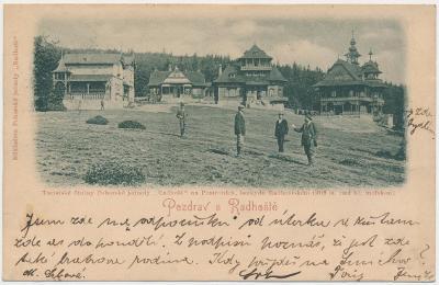"""71 - Vsetínsko, Radhošť, oživená partie z """"Pusteven"""", cca 1903"""