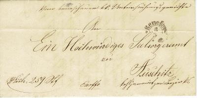 RAKOUSKO - r.1856, oblíbené půlkruhové razítko Benešov