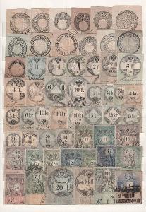 Rakousko, sbírka více než 150 kusů kolků z let 1820-1910 na 3 listech