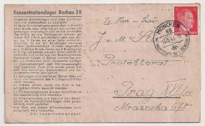 Německo, Koncentrační tábor Dachau, skládaný předtištěný dopis