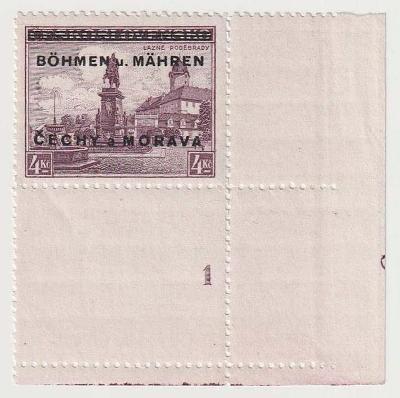 Protektorát, 1939, 4 Kč Poděbrady,rohový kus s DČ 1 s deskovou značkou