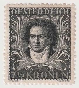 Rakousko, 1922, 7 1/2 Kr Beethoven, zoubkování L 11 1/2,vysoký katalog
