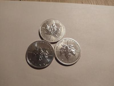 Investiční stříbrná mince Maple Leaf 2011 1oz 3x