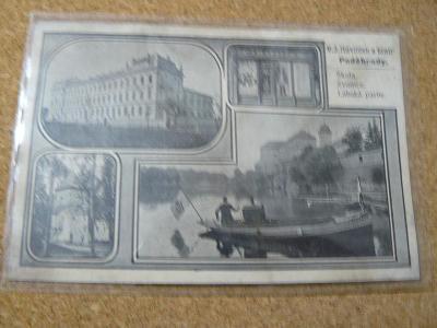 REKLAMNÍ POHLEDNICE PODĚBRADY,V.J.HAVLÍČEK A BRATR,KOLÁŽ 1900