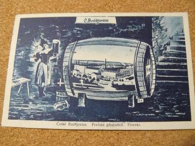 POHLEDNICE ČESKÉ BUDĚJOVICE,PIVOVAR,PRAŽSKÉ PŘEDMĚSTÍ 1933