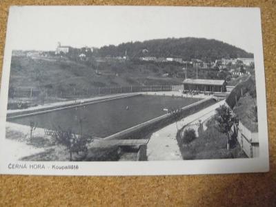 POHLEDNICE ČERNÁ HORA,PIVOVAR A KOUPALIŠTĚ 1936