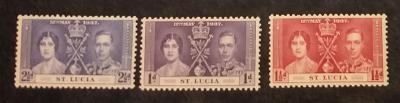 britská Sv. Lucia 1937 ** George VI korunovácia komplet