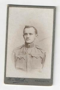 Velmi stará kabinetka fotografie Prachatitz Prachatice voják