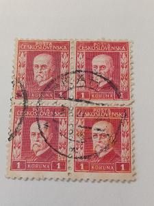 poštovní známky - Masaryk 202  1 Koruna červená  4blok