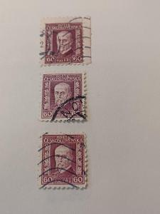 poštovní známky - Masaryk 207  60 hal fialová  3 ks