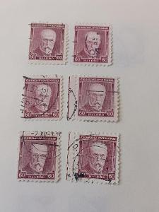 poštovní známky - 259      60 hal   Masaryk - fialová      6 ks