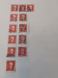 poštovní známky - 260      1koruna   Masaryk - červená      12 ks