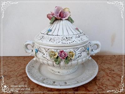 *** Nádherná porcelánová květinová polévková mísa omáčník terina ***