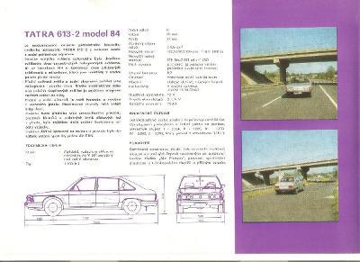 Tatra 613 -2 model 84 , prospekt , 4 strany , česky