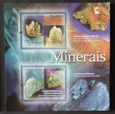 Svatý Tomáš 2011 Bl.824 9€ Komplet, Minerály, křemena a akvamarín