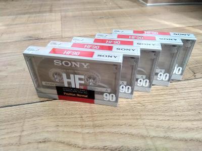 Audio kazety - 5 x audiokazeta SONY HF90 / nerozbalené