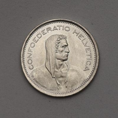 Stříbrný 5 Frank 1969 B - Švýcarsko - TOP STAV!