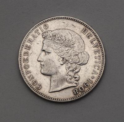Stříbrný 5 Frank 1908 B - Švýcarsko - Krásný a Vzácný!