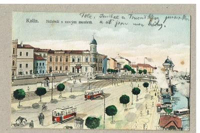 Kolín budoucnost  rok cca 1908-1910, koloravaný , okres Kolín