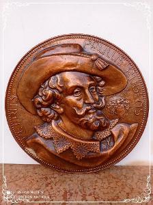 *** Starožitný měděný nástěnný tepaný talíř obraz Paulus Rubens ***